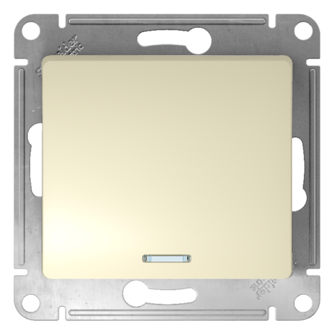 Выключатель одноклавишный с подсветкой, 10АХ. Цвет Бежевый. Schneider Electric Glossa. GSL000213