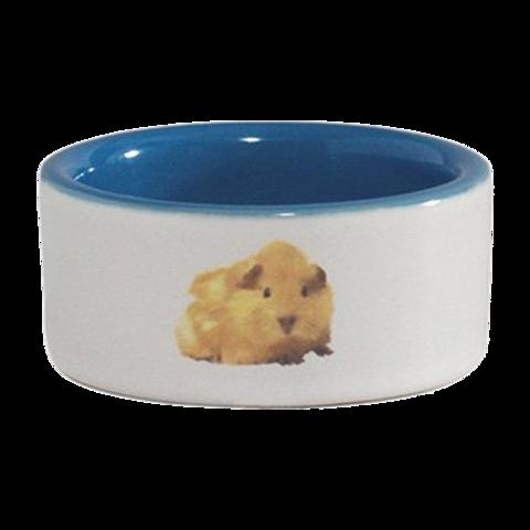 Beeztees Миска для хомяка керамическая с изображением хомяка голубая
