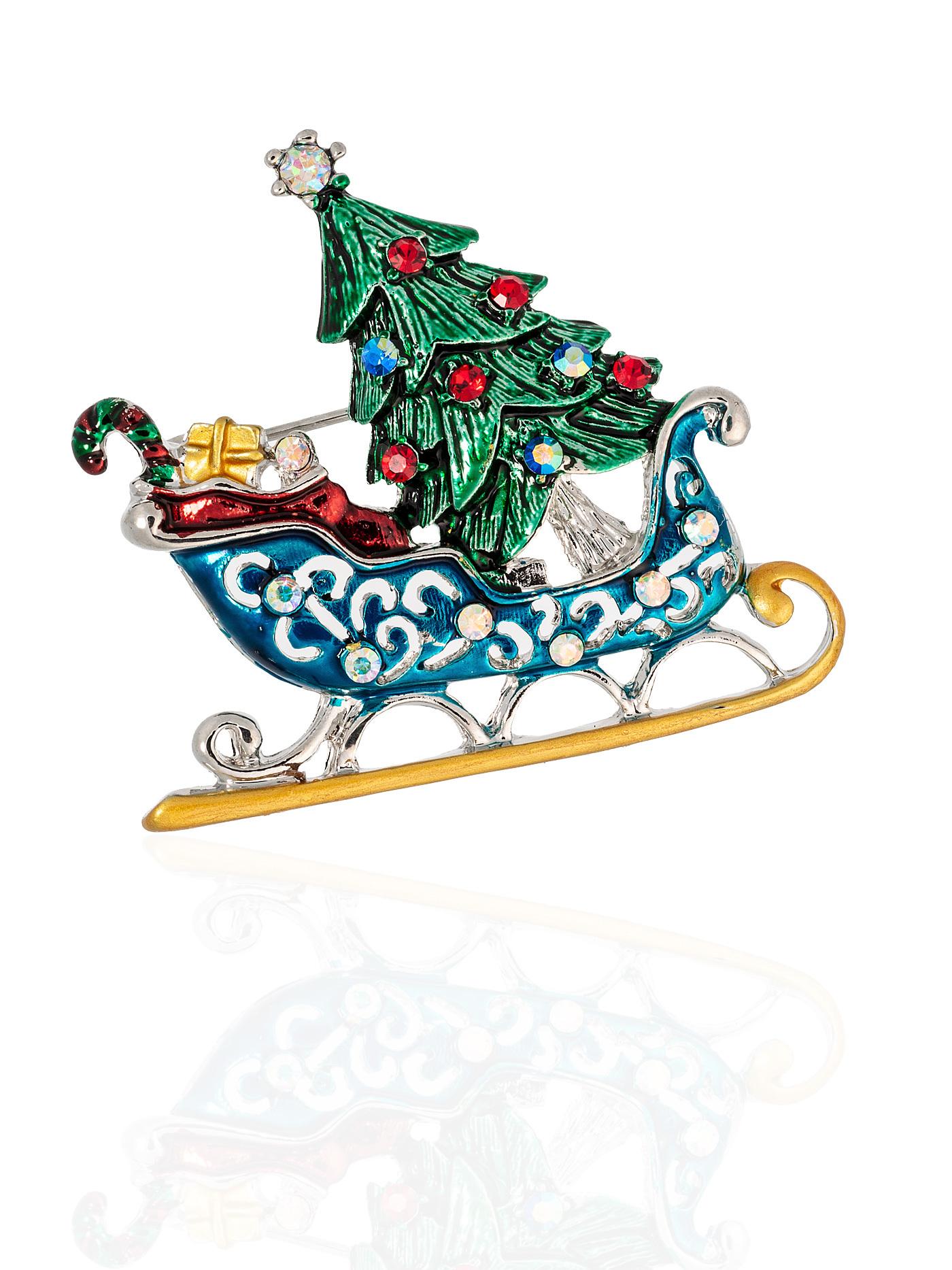 """Брошь """"Сани с елкой"""" в подарочной коробке, подарок на Новый Год"""