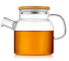 Стеклянный заварочный чайник с бамбуковой крышкой, 700 мл