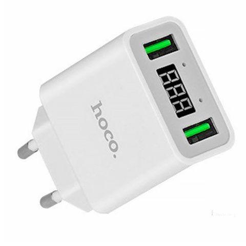 Сетевое зарядное устройство Hoco C25A LED 2 USB Cool Charger цвет на выбор