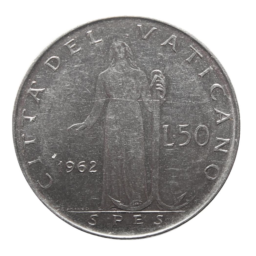 50 лир 1962 год, Ватикан. aUNC
