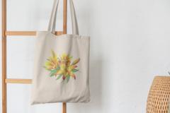 Сумка-шоппер с принтом Цветы (Лилии) бежевая 009