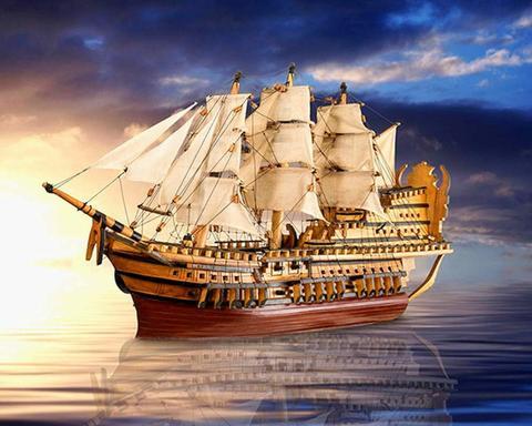 Алмазная Мозаика 20x30 Корабль на тихой воде