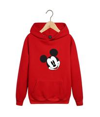 Толстовка красная с капюшоном (худи, кенгуру) и принтом Микки Маус (Mickey Mouse) 002