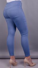 Ешлі. Стильні джеггінси великих розмірів. Блакитний.
