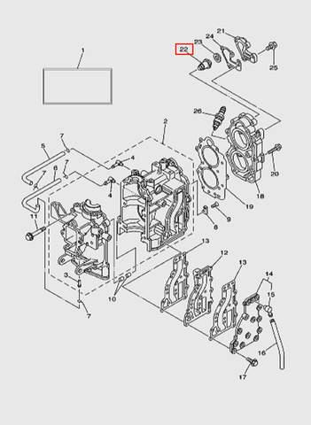 Термостат  для лодочного мотора T15, OTH 9,9 SEA-PRO (2-22)