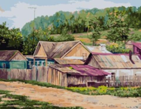 Картина раскраска по номерам 40x50 Дачные домики