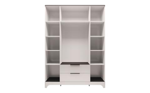 Шкаф для одежды четырехдверный с ящиком Танго 2 Ижмебель белый/черный матовый