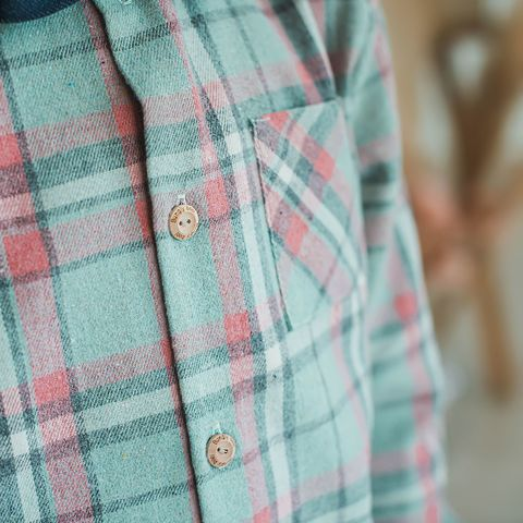 Check flannel shirt for teens - Pistachio