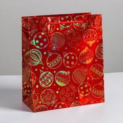 Пакет голография вертикальный «Новогодние игрушки», ML 23 × 27 × 11,5 см, 1 шт.