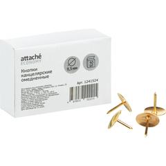 Кнопки канцелярские  Attache Economy 9,5 мм, омедненные 50 шт