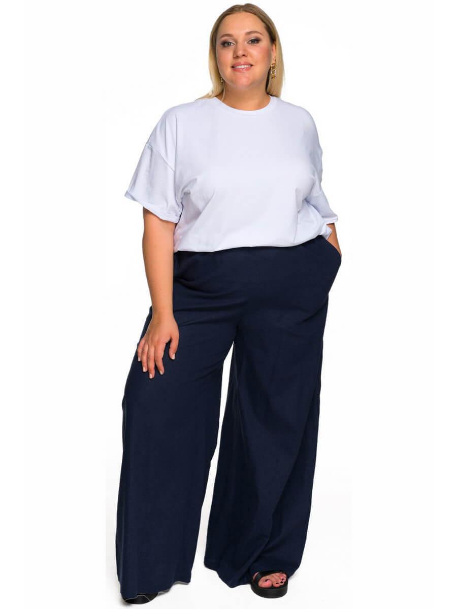 Широкие брюки изо льна тёмно-синие