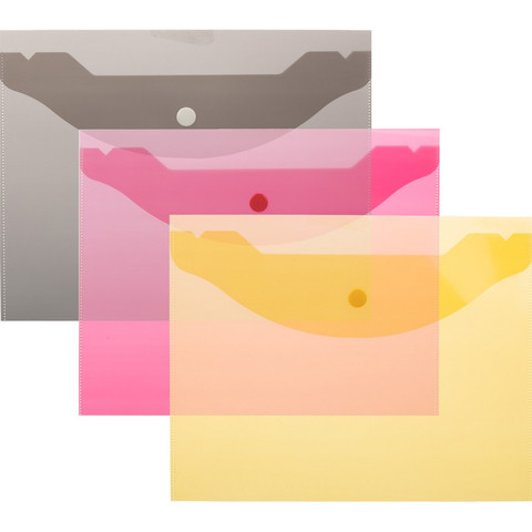 Папка конверт на кнопке А5,190x240мм,Attache, 180мкм, 10шт.уп , ассорти