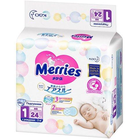Merries. Подгузники для новорожденных NB до 5 кг, 1уп/24 шт