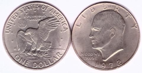 1 доллар 1972 США Эйзенхауэр XF (Лунный)