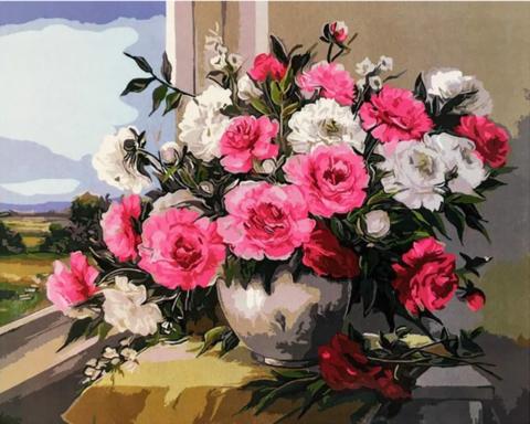 Алмазная Мозаика 40x50 Букет цветов в вазе у окна (арт. SGJ73522)