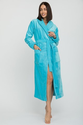Махровый женский халат 742 бирюза