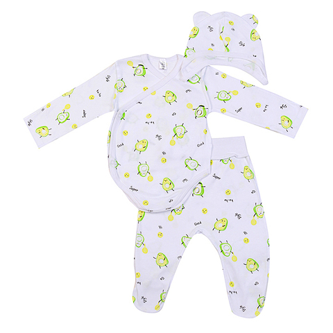 Mini Fox. Комплект для новорожденных швами наружу 3 предмета, авокадо