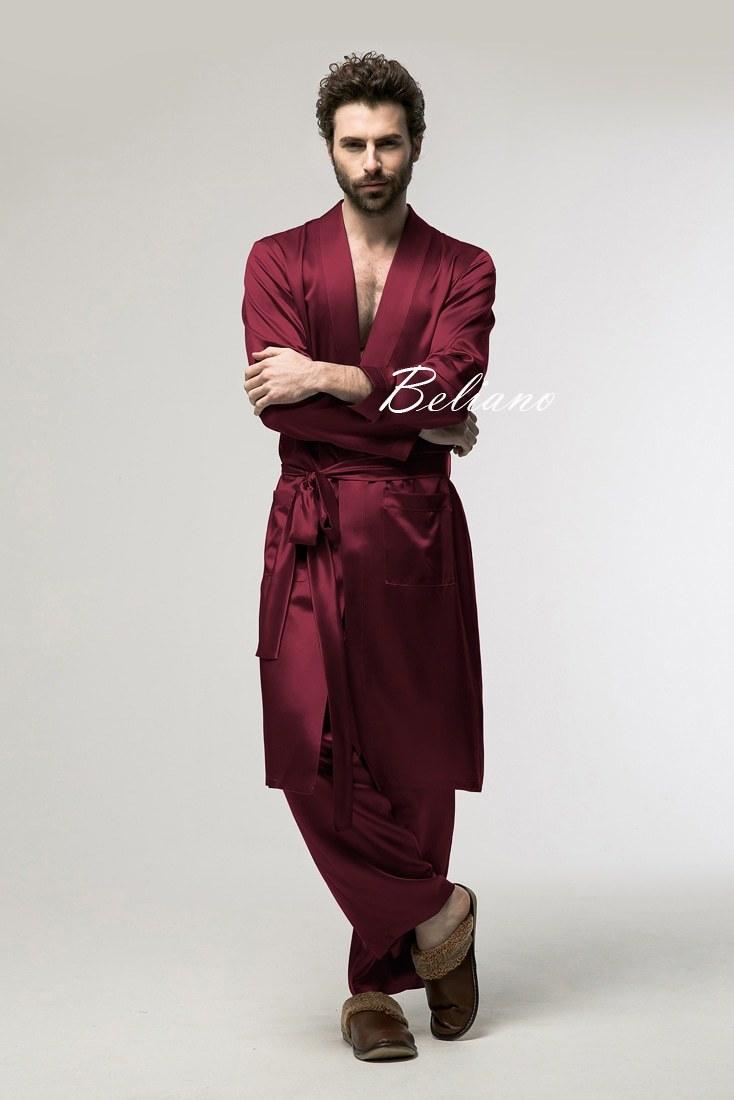 Шелковый комплект для дома (брюки и халат) из натурального шелка бордового цвета (бордо) купить по фото и цена в Киеве(Украина)