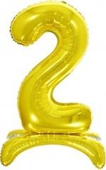 К Шар цифра (32''/81 см) , 2 на подставке, Золото, 1 шт. в упак.