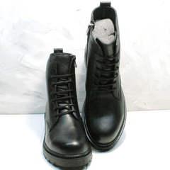 Осенние ботиночки на шнурках женские Misss Roy 252-01 Black Leather.