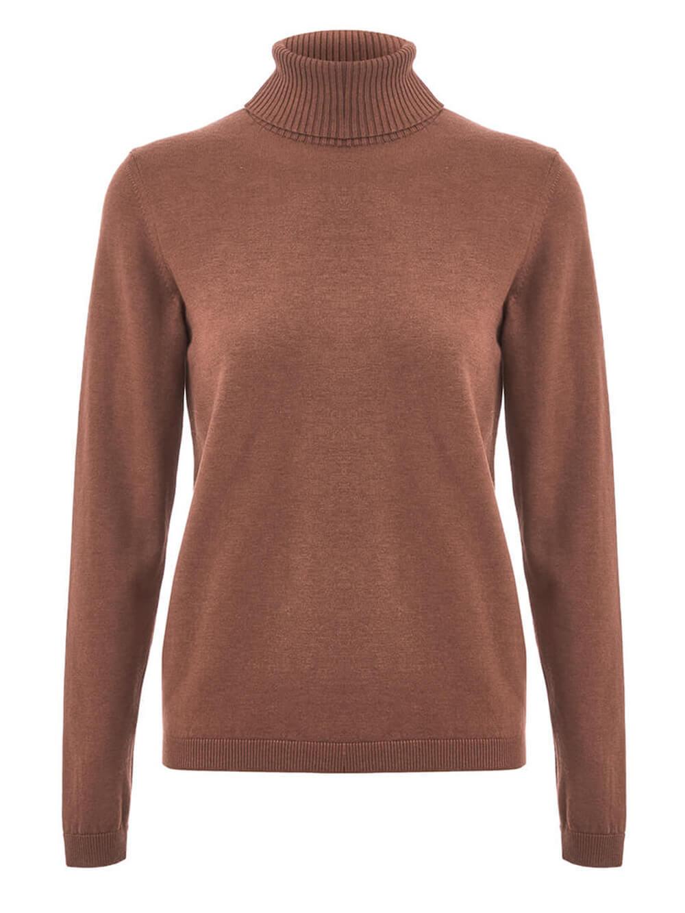 Женская водолазка коричневого цвета из шерсти и шелка - фото 1