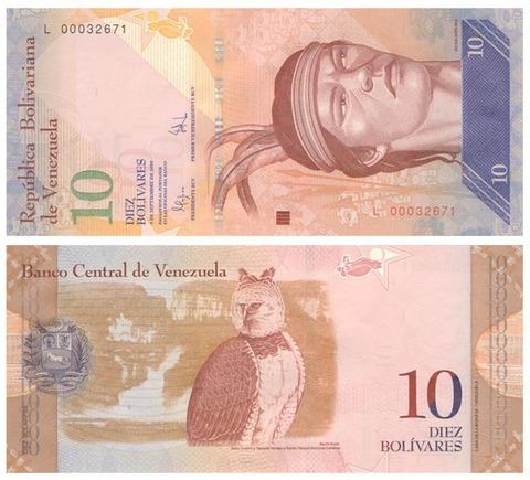Банкнота 10 боливаров 2014 год, Венесуэла. UNC