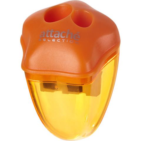 Точилка Attache Selection двойная с контейнером оранжевая