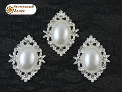 Камни овалы в ромбовой оправе светлое серебро жемчужные белые