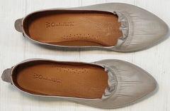 Нюдовые туфли лодочки балетки из натуральной кожи Wollen G036-1-1545-297 Vision.