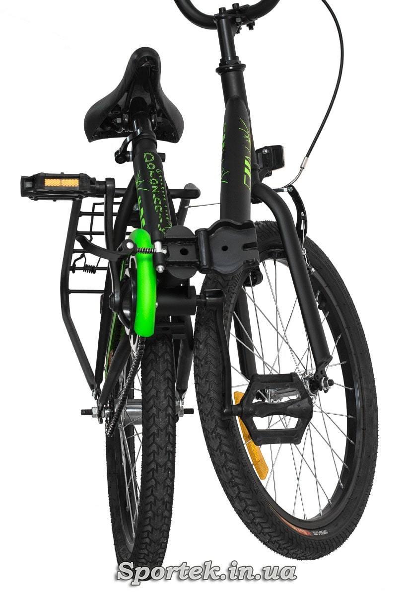 Вид спереди на сложенный подростковый велосипед Dorozhnik Fun 2016