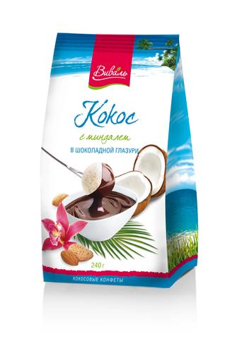 ВИВАЛЬ Кокос с миндалем в шоколадной глазури 240г
