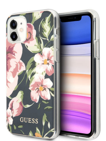 Guess / чехол для iPhone 11 | Flower TPU/PC Hard Shiny N.3 Navy