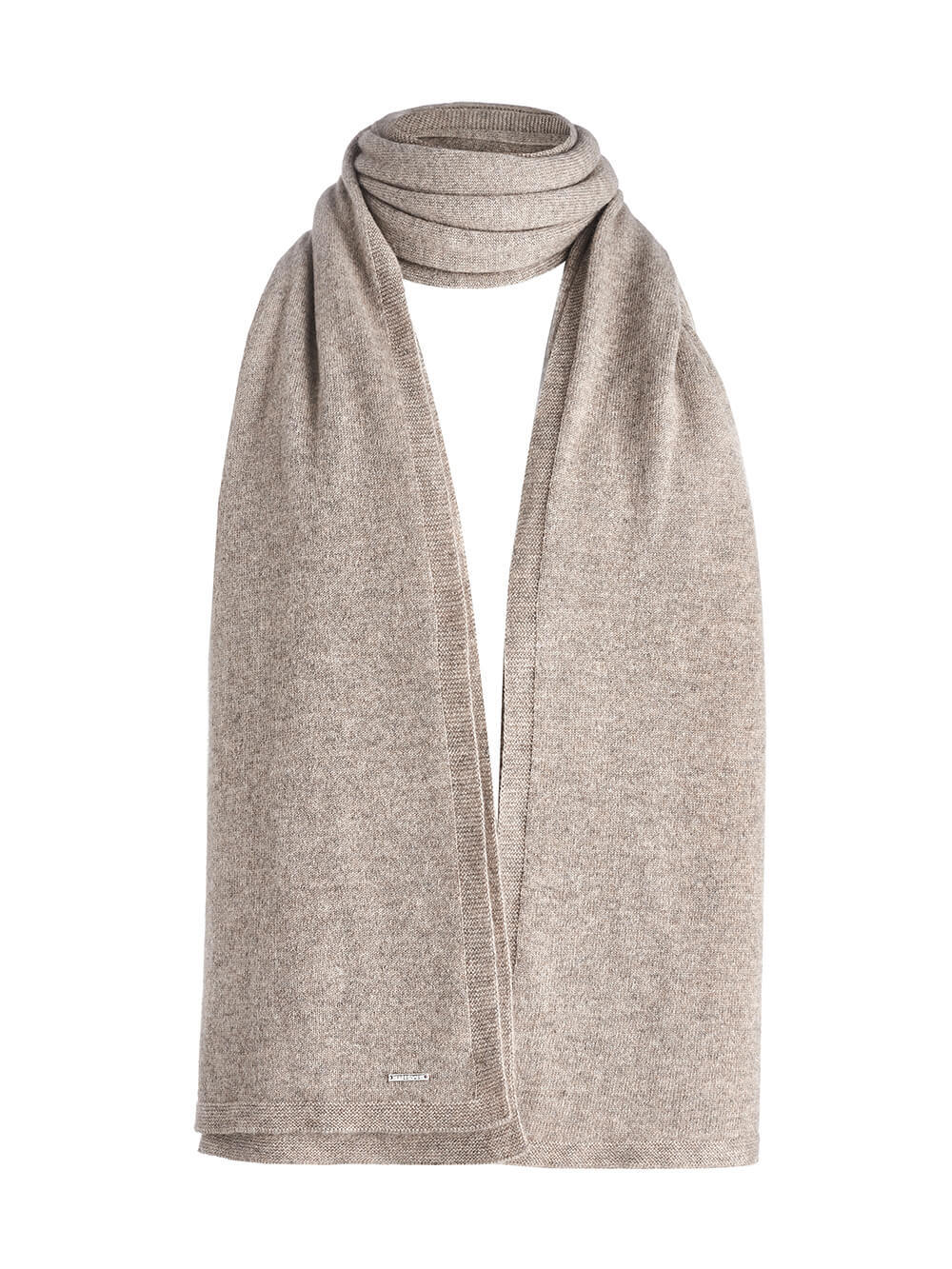 Женский шарф песочного цвета из 100% кашемира - фото 1