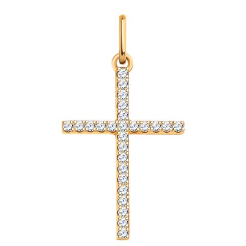 3291- Крест из золота 585 пробы с фианитами