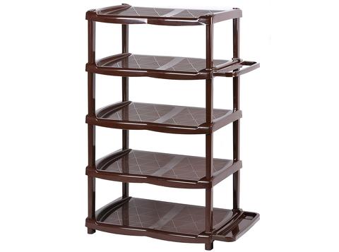 Этажерка для обуви 5 секций из пластика коричневая Эльфпласт 46х33х78 см