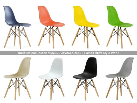 Интерьерный дизайнерский кухонный стул Eames DSW Style Wood, желтый