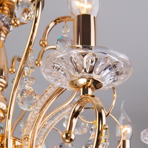 Хрустальная люстра с двойным вариантом крепления 10096/8 золото/прозрачный хрусталь Strotskis
