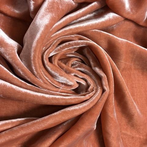 Ткань бархат  шелковый лососевый цвет 3189
