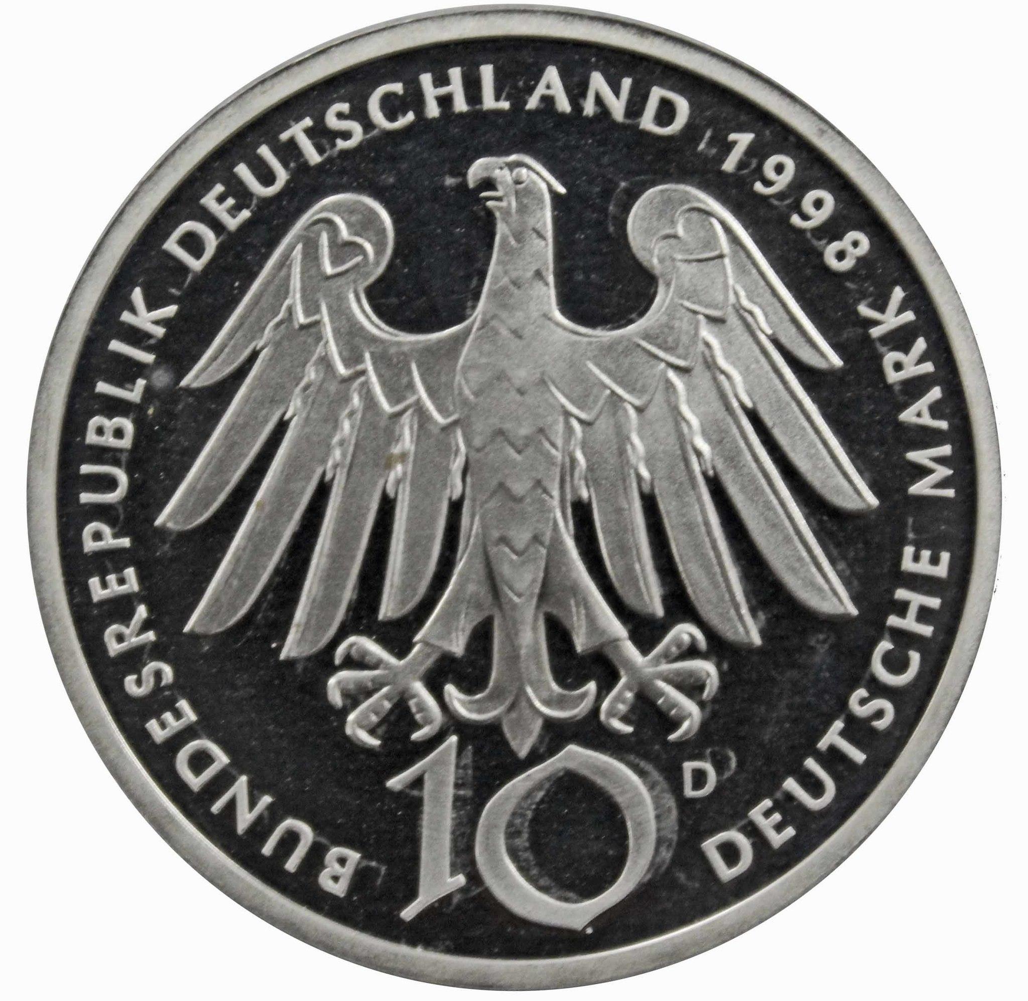 10 марок. 900 лет со дня рождения Хильдегард из Бингена (D) Серебро. 1998 г. PROOF. В родной запайке