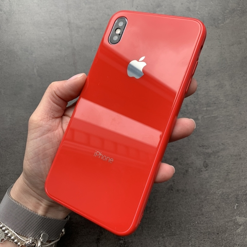 Чехол iPhone XS MAX Glass Full color Case Logo /red/
