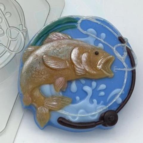 Пластиковая форма для шоколада муж. РЫБКА В КРУГЕ С ЛЕСКОЙ И УДОЧКОЙ (диаметр 80мм)