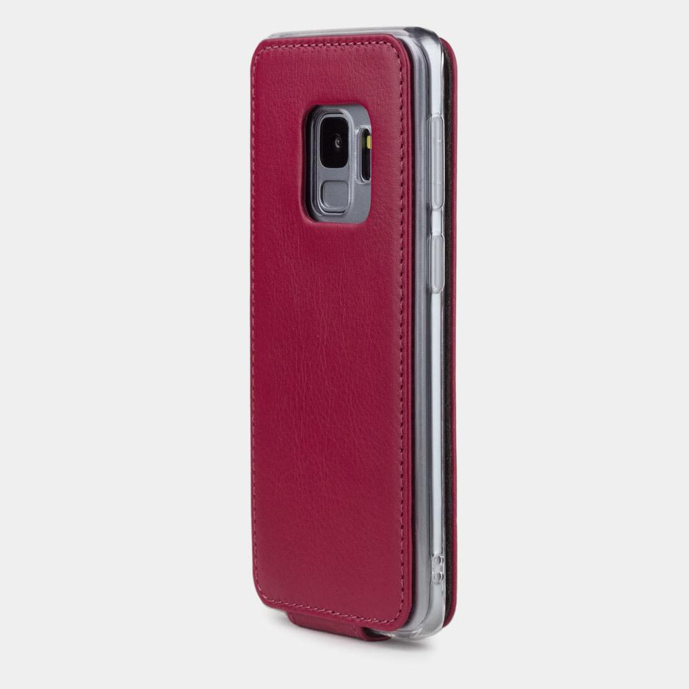 Чехол для Samsung Galaxy S9 из натуральной кожи теленка, цвета малины