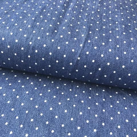 Мерный лоскут 0,6 м джинса с эластаном в мелкий горошек 2083
