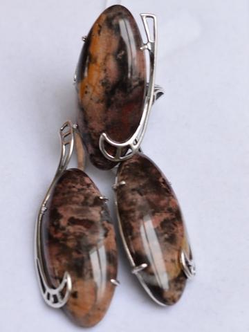 Оливия (кольцо + серьги из серебра)