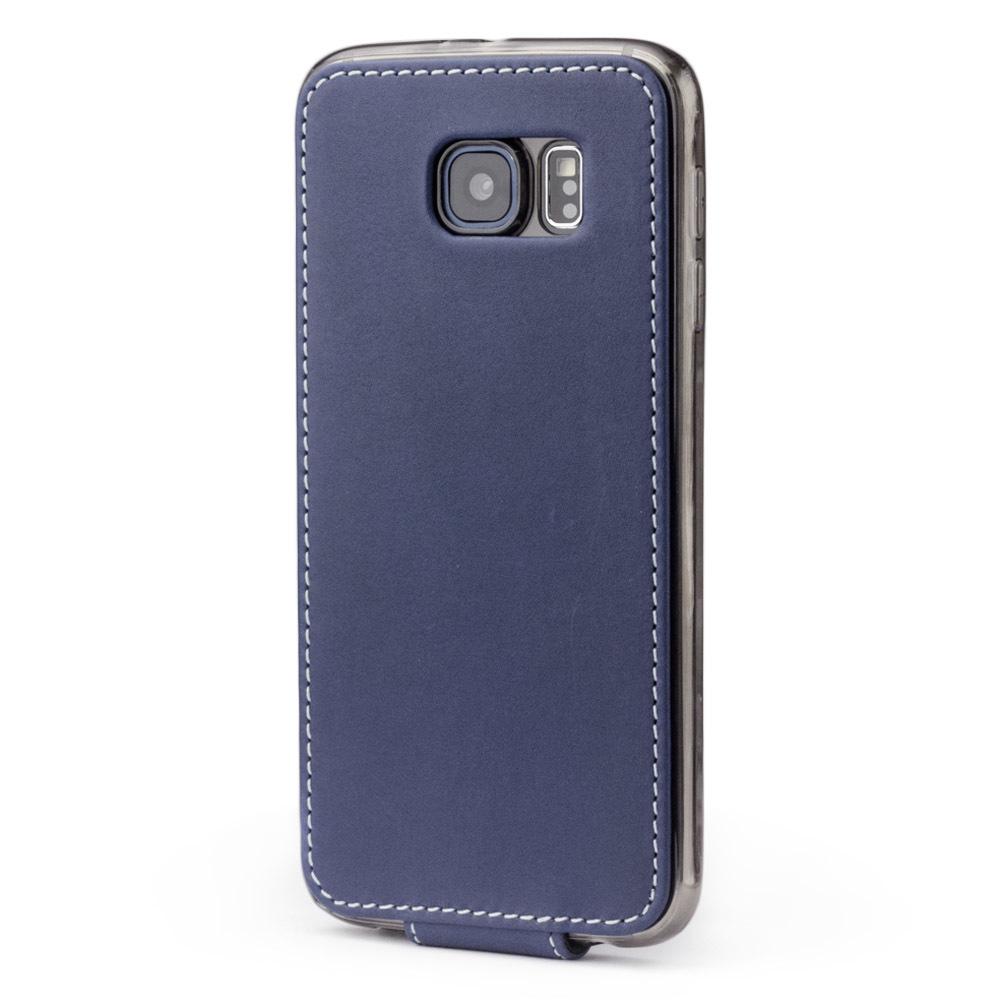 Чехол для Samsung Galaxy S6 из натуральной кожи теленка, синего цвета