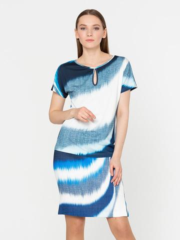 Фото легкая прямая юбка с оригинальным принтом и разрезами - Юбка Б077-500 (1)
