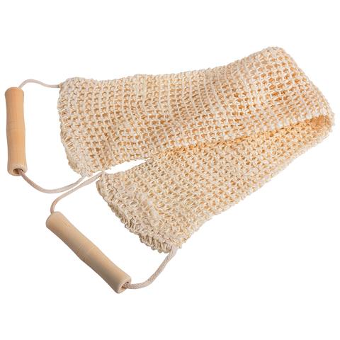 Мочалка из сизаля, лента с деревянными ручками