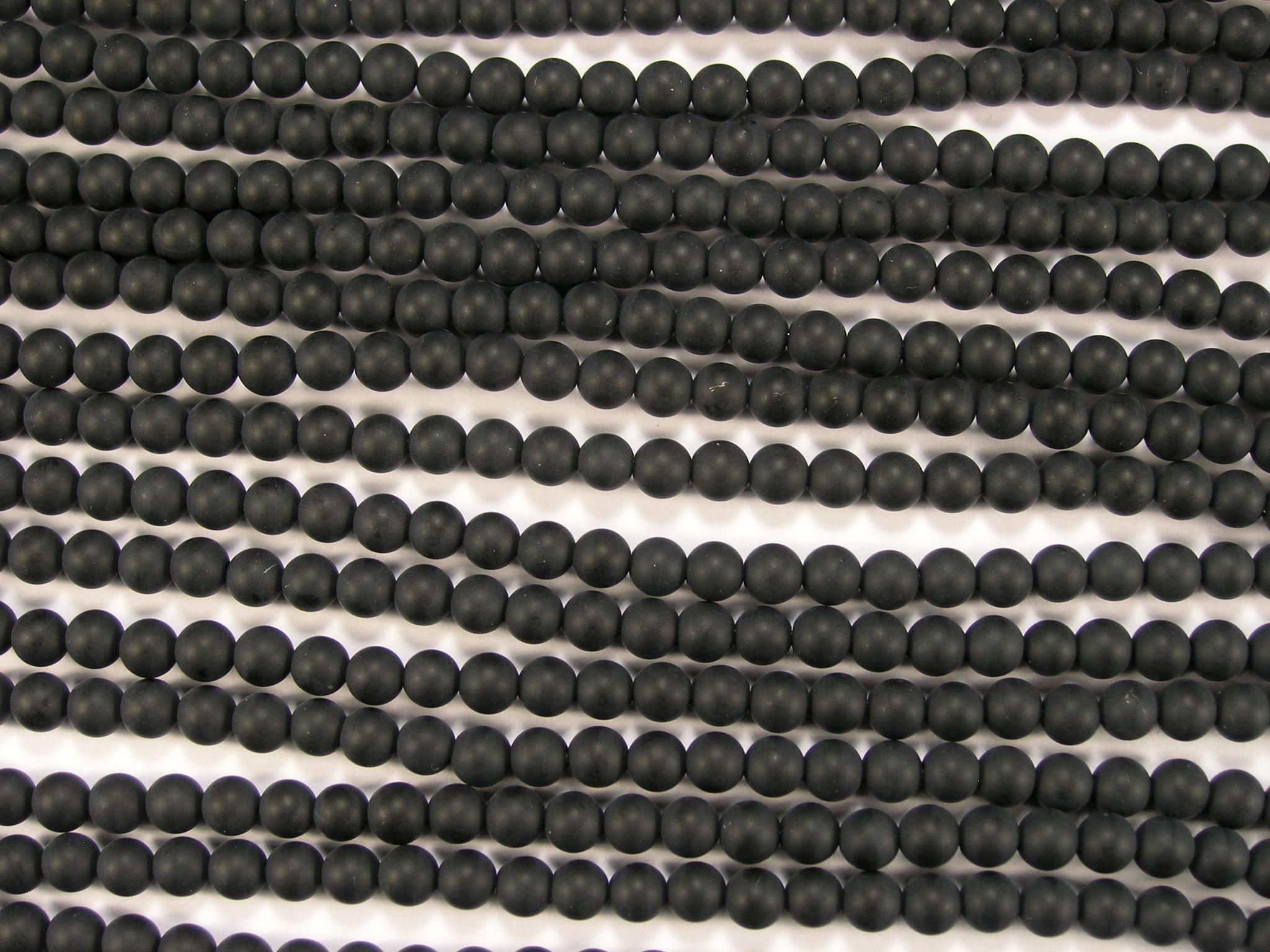 Нить бусин из оникса черного матового, шар гладкий 4мм